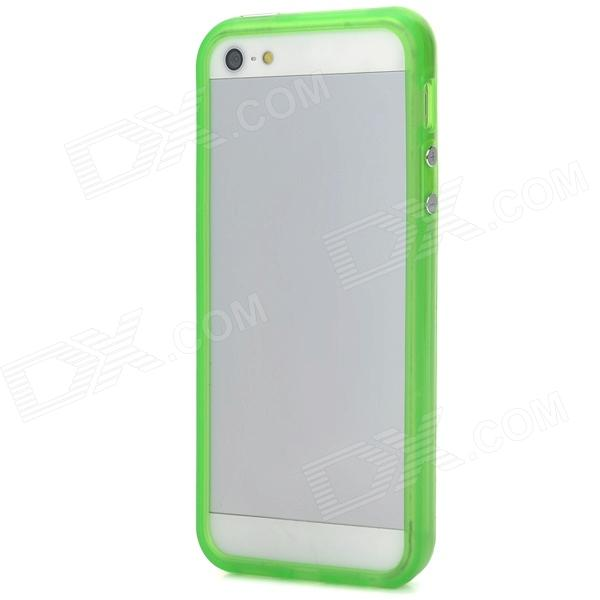 Glow-in-the-Dark Protective Bumper Frame for Iphone 5 - Translucent Green stylish glow in the dark protective pc pu bumper frame case for iphone 5c orange