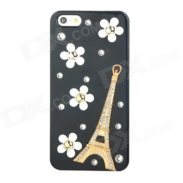 Protective Eiffel Tower Style Crystal Back Case for Iphone 5 - Black + White + Golden princess style shiny crystal back case for iphone 5 white