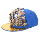 Hip Hop Style Plastic + Cotton Baseball Hat / Cap - Blue + Golden