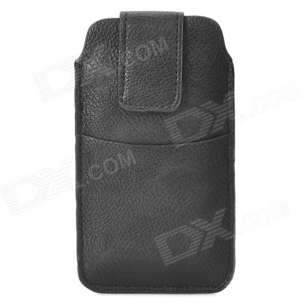 Protective PU Leather Pouch Case for Iphone 5 - Black protective pu leather bag pouch with for iphone 5 blue white