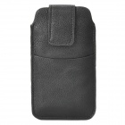 Protective PU Leather Pouch Case for iPhone 5 - Black