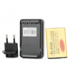 Replacement 2450mAh Li-ion Battery w/ 2-Flat-Pin Plug USB Power Charger / EU Plug Adapter for LG L7