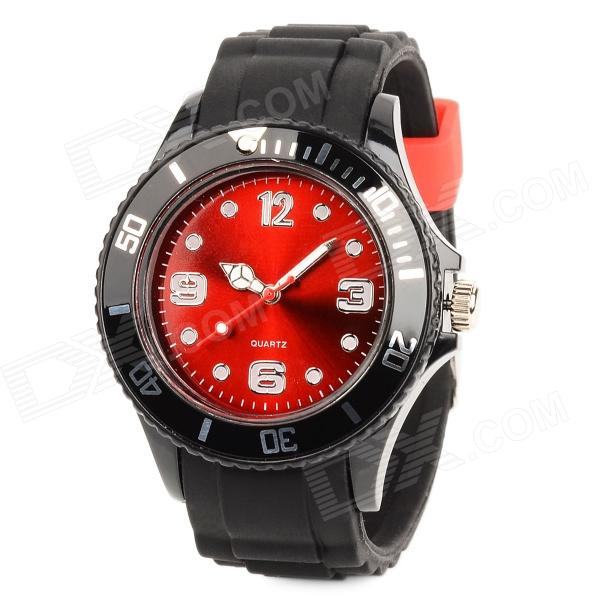 Fluorescent Light Silicone Band Quartz Wrist Watch - Red + Black (1 x LR626)