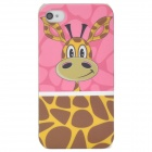 Lofter Cartoon Giraffe Style Protective PC Back Case for Iphone 4 / 4S - Pink + Yellow + Coffee