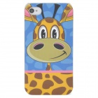 Lofter Cartoon Giraffe Style Protective PC Back Case for iPhone 4 / 4S - Blue + Yellow + Coffee