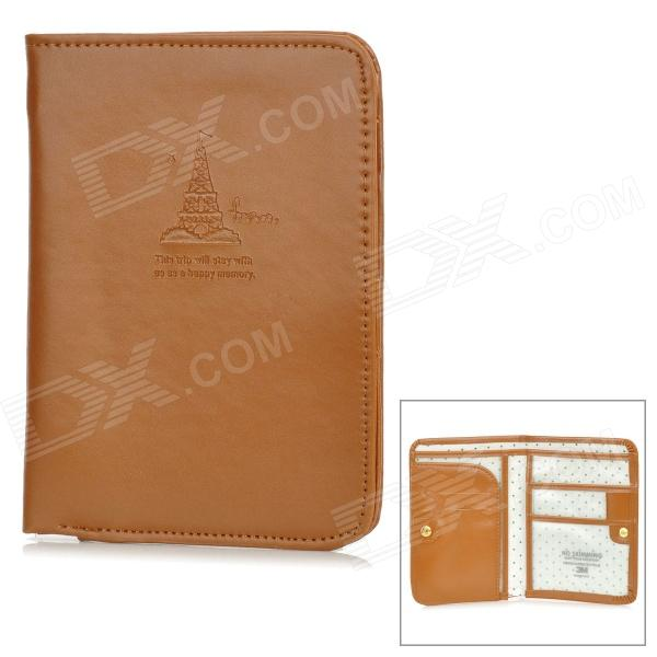 Multi-Pocket PVC Passport Holder - Brown