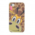Lofter Cartoon Giraffe Style Protective PC Back Case for Iphone 4 / 4S - Coffee + Yellow