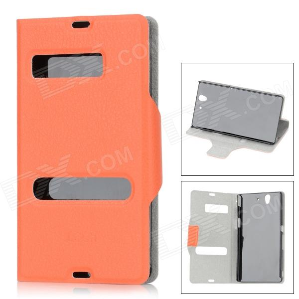 Protective Unlock Slide Open Design PU Leather Case for Sony L36h Xperia Z/C6603/C660x/L36i - Orange cute faerie pattern protective pu leather case cover stand for ipad air pink