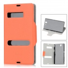 Protective Unlock Slide Open Design PU Leather Case for Sony L36h Xperia Z/C6603/C660x/L36i - Orange