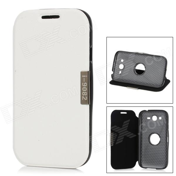 Protective PU Leather + ABS Rotating Flip-Open Case for Samsung 9082 - White + BlackLeather Cases<br>Quantity 1 Piece Color White + black Material PU leather + ABS Compatible Models Samsung 9082 Other Features Personalizes your device and protects it from scratches dust and shock. Can be use as stand. Packing List 1 x Case<br>