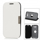 Protective PU Leather + ABS Rotating Flip-Open Case for Samsung 9082 - White + Black