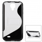 Protective TPU + PC Back Case w/ Stand for Samsung Galaxy S4 i9500 - Black + Transparent