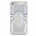 3D Spider Style Protective Plastic + PU Leather Back Case Cover for iPhone 5 - Silver + White