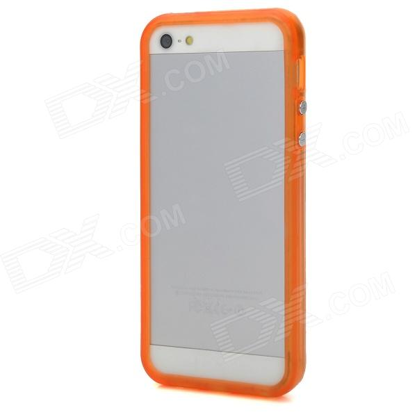 Glow-in-the-Dark Protective Bumper Frame for Iphone 5 - Translucent Orange stylish glow in the dark protective pc pu bumper frame case for iphone 5c orange
