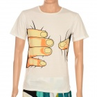 Creative Big Hand Printed 3D Vision Cotton T Shirt for Men - White (Size XL)
