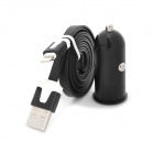 Car Charger Adapter + USB to 8-Pin Charging Data Cable for iPhone 5 / iPad 4 - Black + White