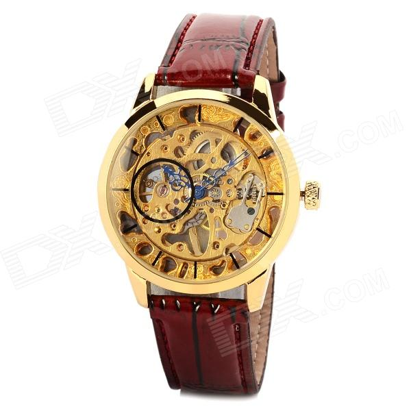 Man Artificial Leather Band Analog Mechanical Self-Winding Skeleton Wrist Watch - Golden + Ruby Red nbw0me7014 stainless steel mechanical self winding analog wrist watch for men black silver