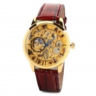 Man Artificial Leather Band Analog Mechanical Self-Winding Skeleton Wrist Watch - Golden + Ruby Red