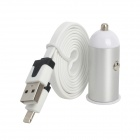 Car Charger Adapter + USB to 8-Pin Data / Charging Cable for iPhone 5 / iPad 4 - White + Silver