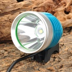 HXDH Cree XM-L T6 LED 600lm 3-Mode White Light Bike Lamp - Blue + Silver