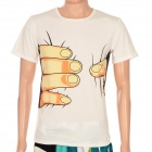 Creative Big Hand Printed 3D Vision Cotton T Shirt for Women - White (Size M)