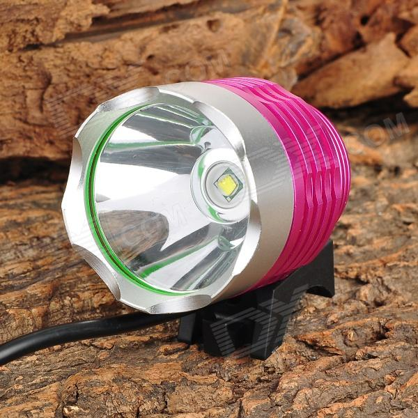 HXDH LZZ-T6 600lm 3-Mode Bicycle Lamp w/ Cree XM-L T6 LED - Pink + Silver 600lm 3 mode white bicycle headlamp w cree xm l t6 black silver 4 x 18650