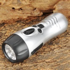 Multi-Functional Hand Cranked Solar 3-LED 10000mcd White Flashlight w/ FM / Alarm - Silver