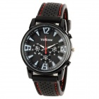 Stylish Silicone Band Round Dial Quartz Wrist Watch for Men - Black