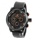 SPEATAK SP9035G-BO Fashion Man's Rubber Band Analog Quartz Waterproof Wrist Watch - Black + Orange