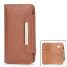 KALAIDENG Protective PU Leather Case w/ Hand Strap for HTC M7 - Brown