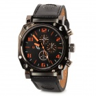 Acrylic Dial Artificial Leather Band Quartz Analog Men's Wrist Watch - Black