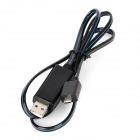USB to Micro USB Data/Charging Cable w/ Blue EL Light for Samsung Galaxy S4 / HTC / Huawei - Black