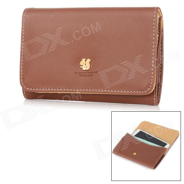 Squirrel Pattern Protective PU Flip-Open Case w/ Card Slot + Strap for Samsung Note 2 - Deep Brown