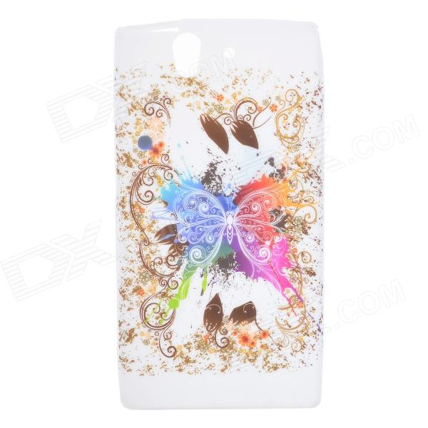Beautiful Butterfly Style Protective Silicone Back Case for Sony Xperia Z L36h - Multicolor butterfly bling diamond case