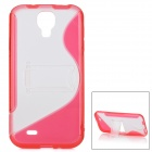 Protective TPU + PC Back Case w/ Stand for Samsung Galaxy S4 i9500 - Red + Transparent
