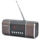 "SANSUI D11 2.0"" Screen Bass Media Player Speaker w/ FM / Music Alarm Clock / TF - Brown + Black"