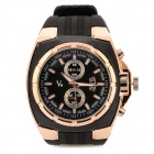 Fashion Man's Rubber Band Stainless Steel Analog Quartz Waterproof Wrist Watch - Black (1 x SR44SW)