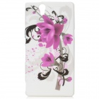 Protective Flower Pattern Silicone Case for Sony L36h - White + Purple + Black