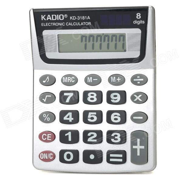 "KADIO KD-3181A 8-Digit 2.15"" LCD Calculator - Silver + Black + White + Red (2 x L1131)"