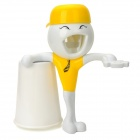 AY1302 Cute Boy Style Toothpaste Dispenser + Cup + Toothbrush Holder Set - Yellow + White