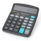 "K.D.T KT-837A Home Office 12-Digit 4.1"" LCD Solar Calculator - Black + Grey + White + Green (1 x AA)"