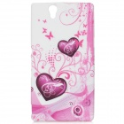 Protective Heart Pattern Silicone Case for Sony L36h - Red + White