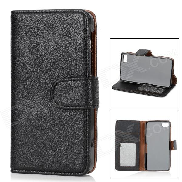 Protective PU Leather Case w/ Card Holder Slots for BlackBerry Z10 - Black stylish protective pu leather case w card holder slots for google nexus 7 ii black