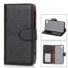 Protective PU Leather Case w/ Card Holder Slots for BlackBerry Z10 - Black