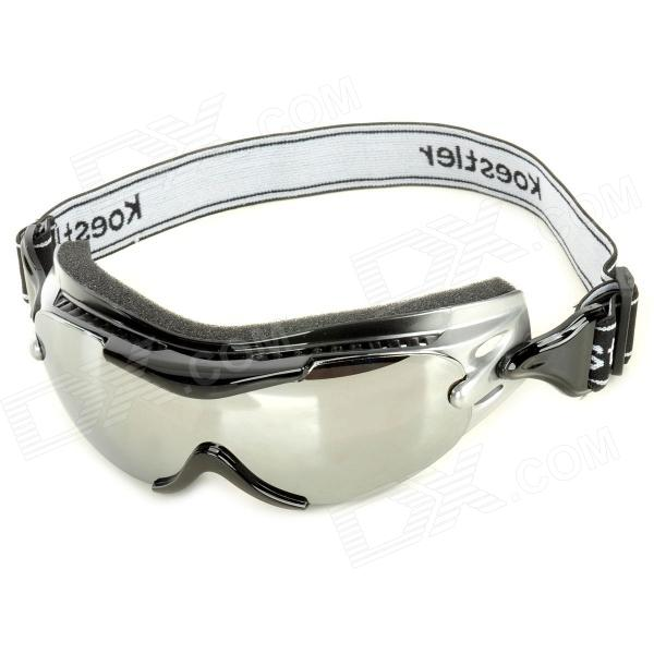Windproof TR90 Frame PC Lens Goggles w/ Elastic Strap - Silver + Black zonesun new a333 manual sealless steel strapping tools for strap steels width from 13 to 19mm