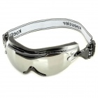 Windproof TR90 Frame PC Lens Goggles w/ Elastic Strap - Silver + Black