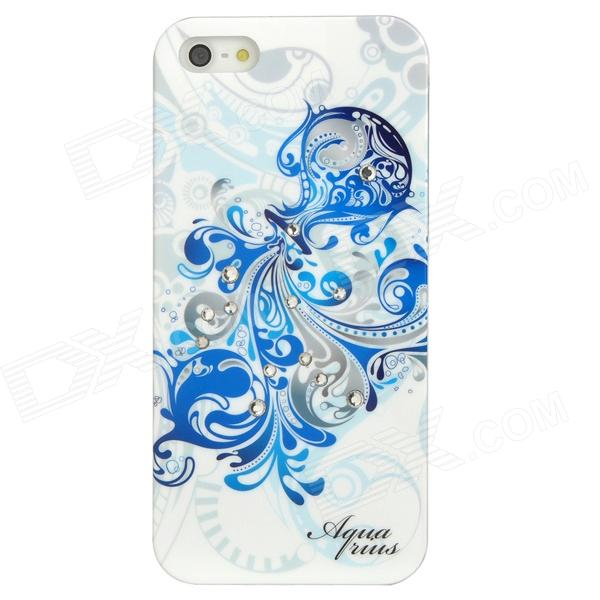 Aquarius Pattern Protective ABS + PC Hard Back Case w/ Rhinestone for Iphone 5 - Blue + White leo pattern protective abs pc hard back case w rhinestone for iphone 5 brown white