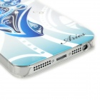 Aries Pattern Protective ABS + PC Hard Back Case w/ Rhinestone for Iphone 5 - Blue + White