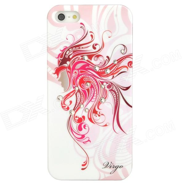 Virgo Pattern Protective ABS + PC Hard Back Case w/ Rhinestone for Iphone 5 - Deep Pink + White sweet bowknot pattern hard back cover pc case for iphone 6 translucent pink