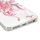 Virgo Pattern Protective ABS + PC Hard Back Case w/ Rhinestone for Iphone 5 - Deep Pink + White